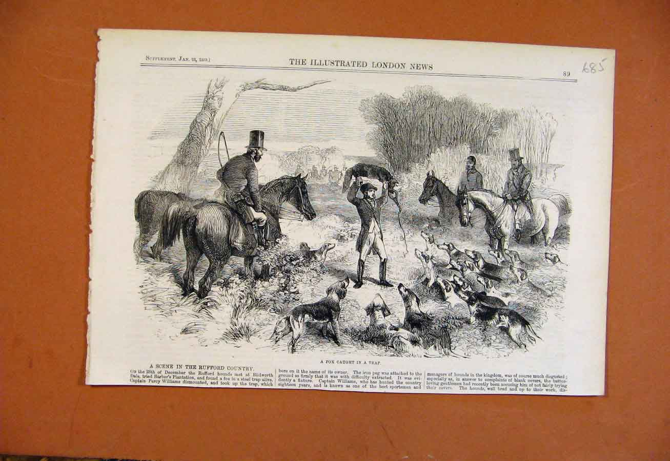 Print Fox Caught In Trap C1859 Ruffod Country 858270 Old Original