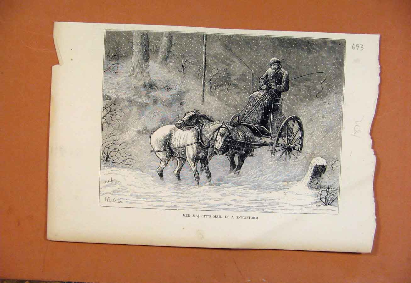Print Her Majestys Mail In Snowstorm C1872 From London News 938270 Old Original