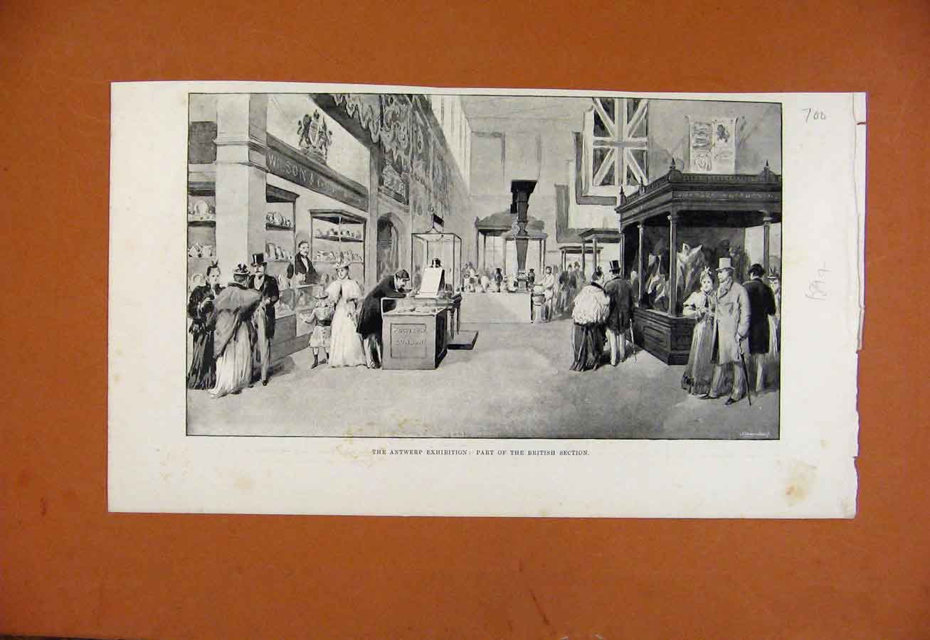 Print C1894 Antwerp Exhibition Bristish Section 008270 Old Original