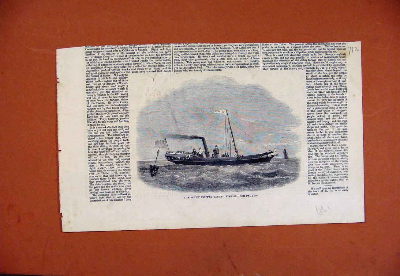 Print Screw Clipper Yacht Cazelle C1861 Art 128270 Old Original