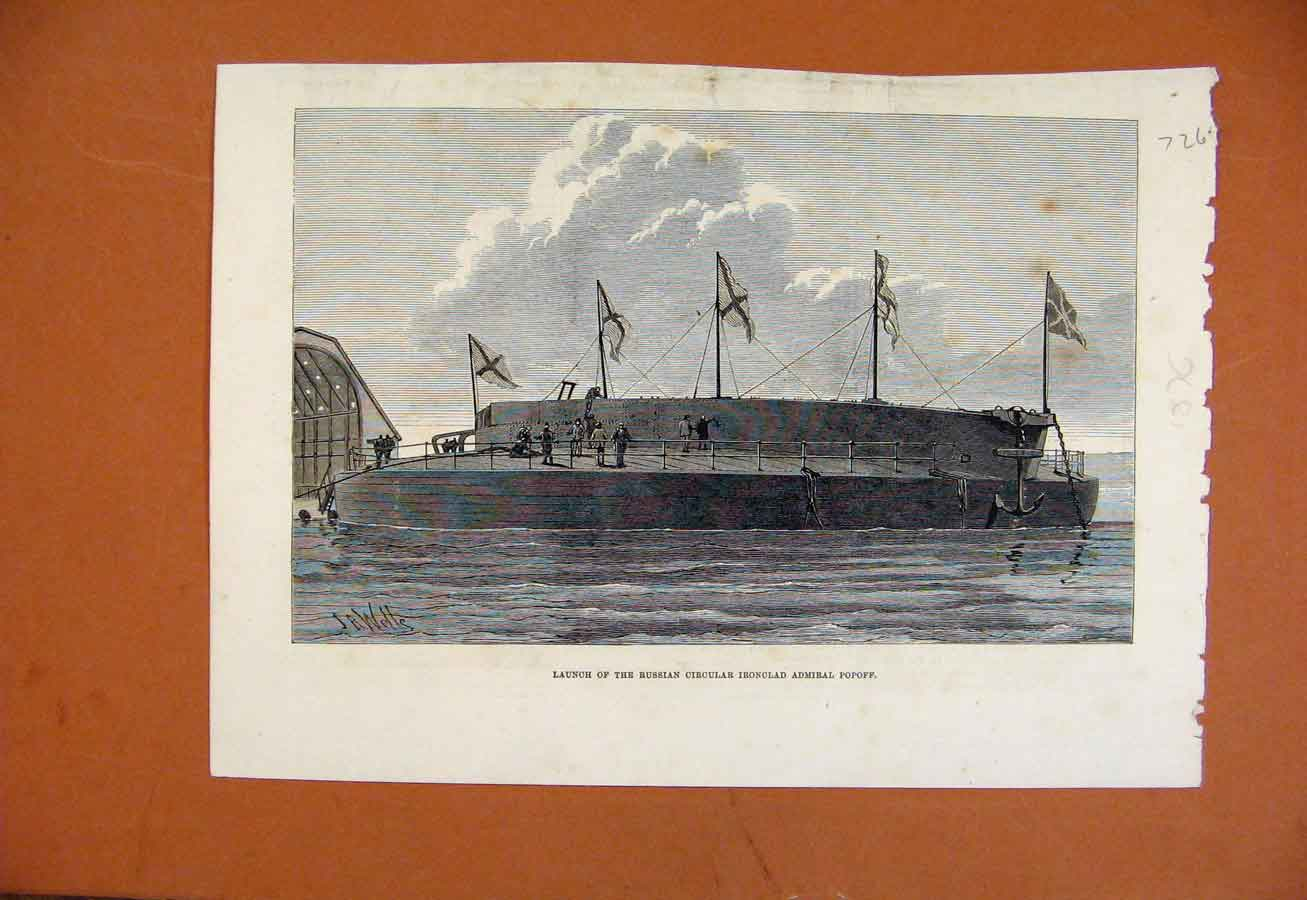Print Launch Russian Circular Ironclad Admiral Popoff C1876 268270 Old Original