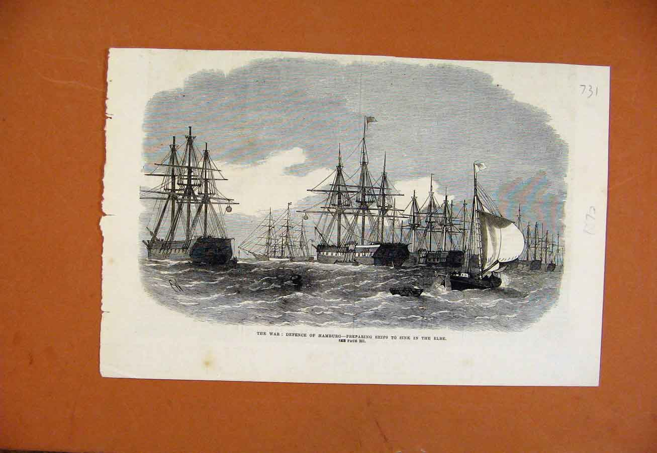 Print War Defence Hamburg C1872 Illustrated London News 318270 Old Original