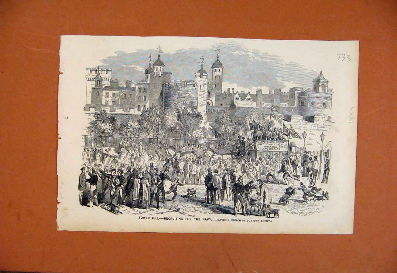 [Print Tower Hill Recruiting For Navy C1869 The Graphic 338270 Old Original]