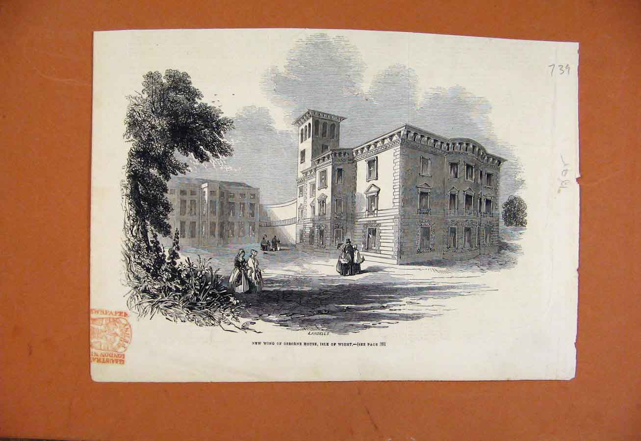 Print C1865 New Wing Osborne House Isle Wight 398270 Old Original