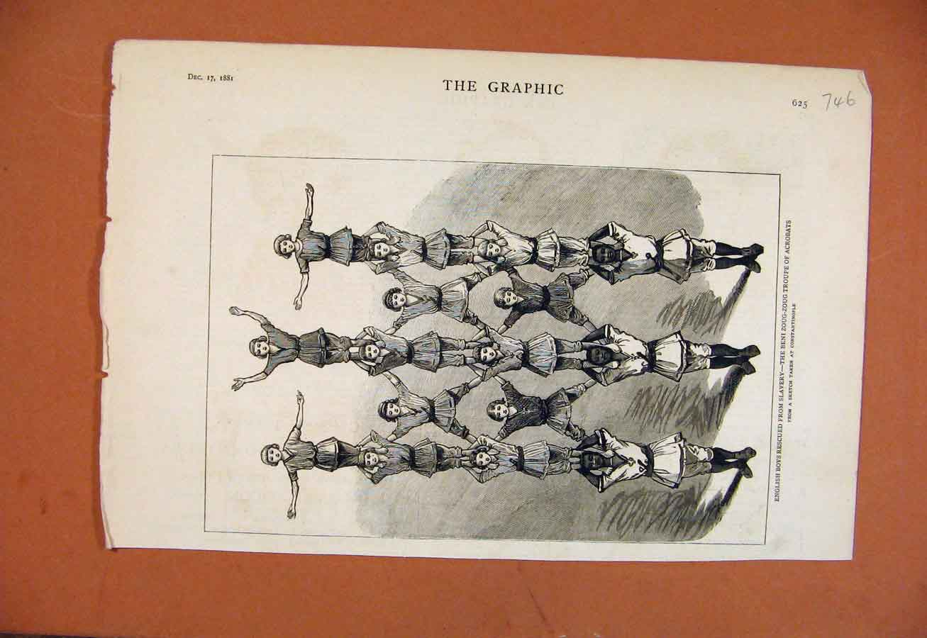 [Print English Boys Rescued From Slavery C1881 The Graphic 468270 Old Original]