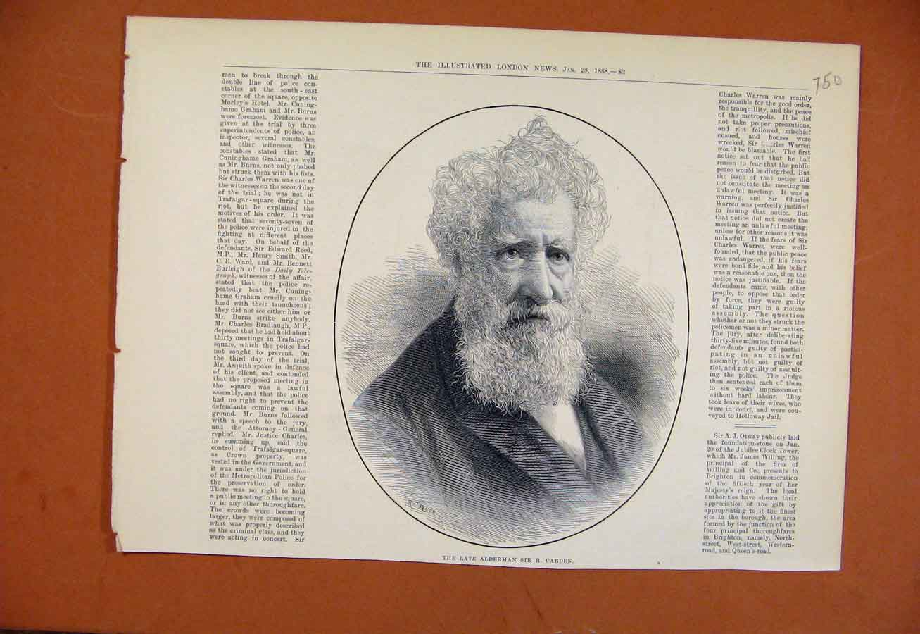 Print Late Alderman Sir Carden C1888 Illustrated London News 508270 Old Original