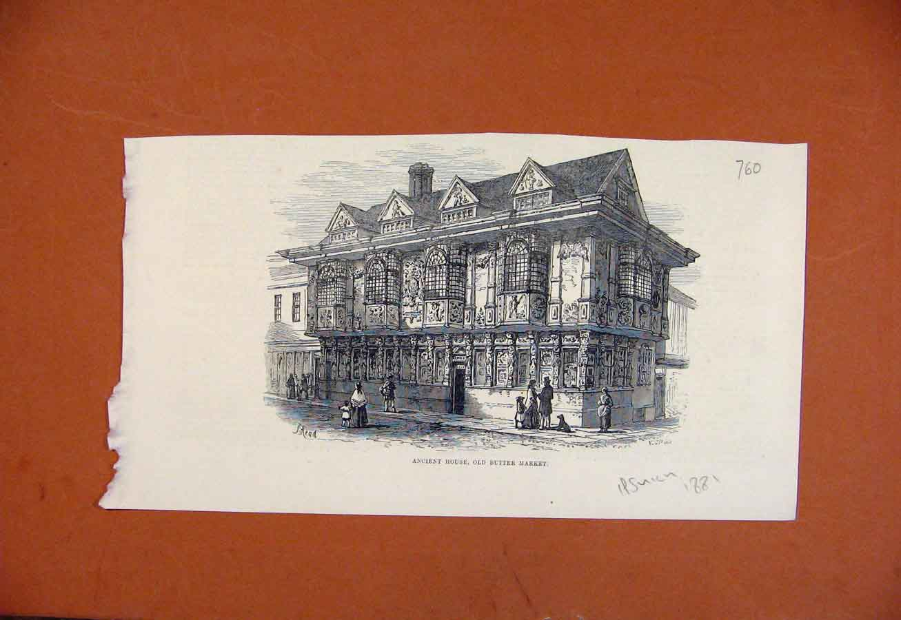 Print Ancient House Butter Market C1881 Ipswich 608270 Old Original