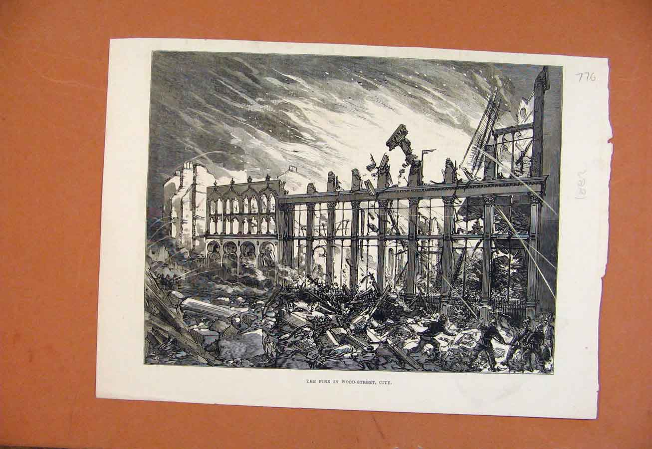 Print Fire In Wood Street City C1882 Illustrated London News 768270 Old Original