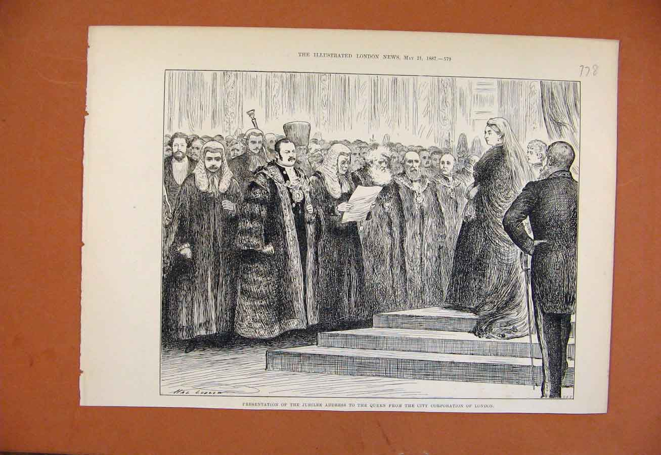 Print Presentation Jubilee To Queen C1887 788270 Old Original