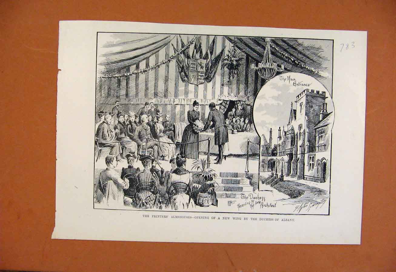 Print Painters Almshouses New Wing Duchess Albany 838270 Old Original