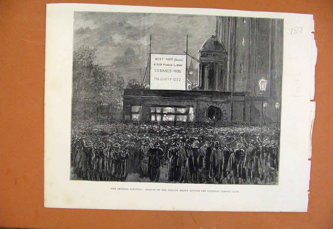 Print General Election Results Polling Shown Outside C1892 878270 Old Original