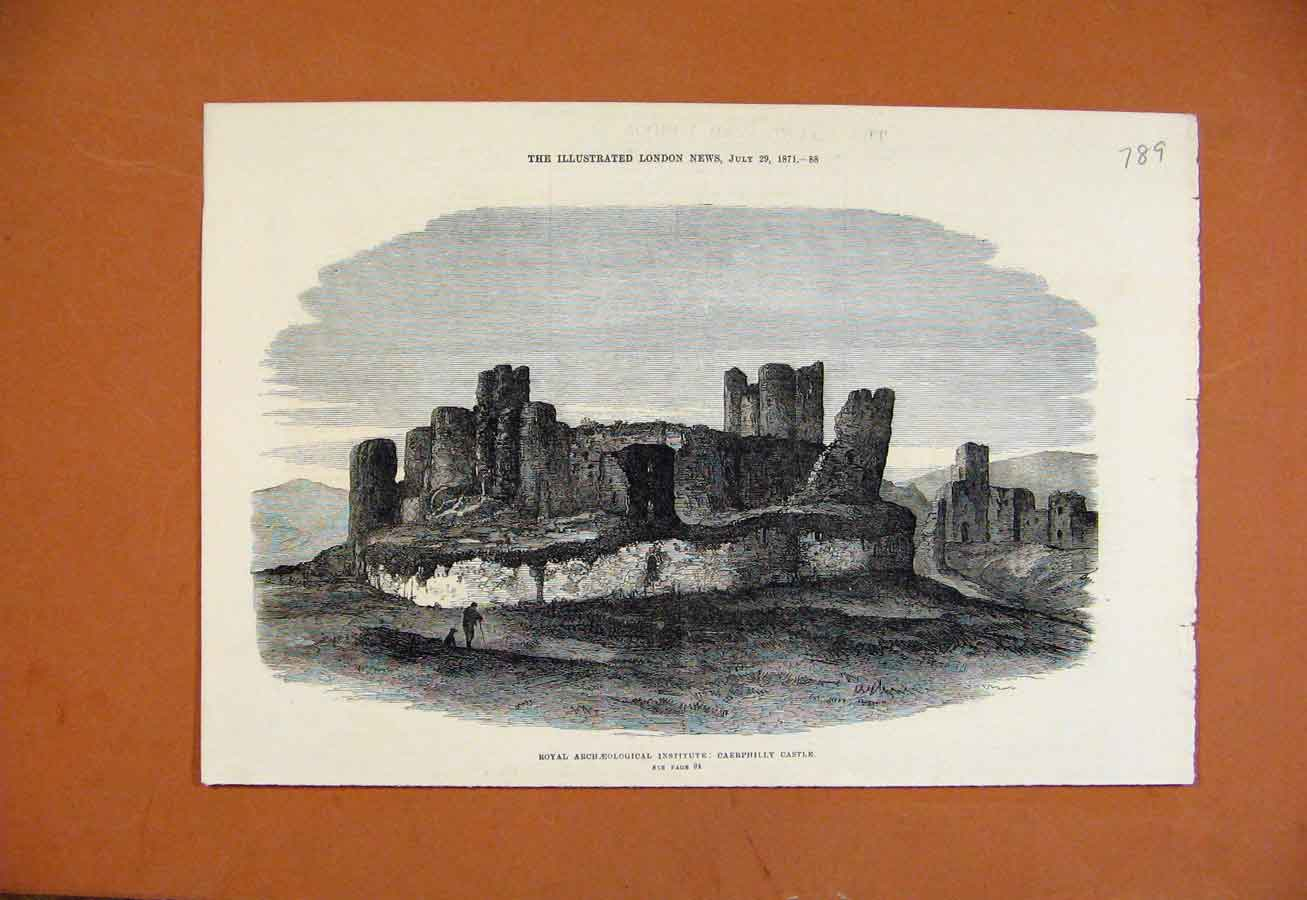 Print Royal Archaeological Institute Caephilly Castle C1871\ 898270 Old Original