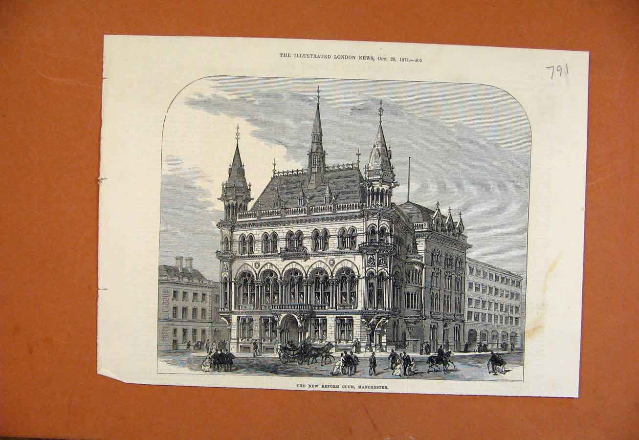 Print New Reform Club Manchester C1871 918270 Old Original