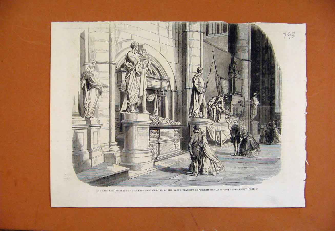 Print Last Resting Place Earl Canning Westminster Abbey 938270 Old Original