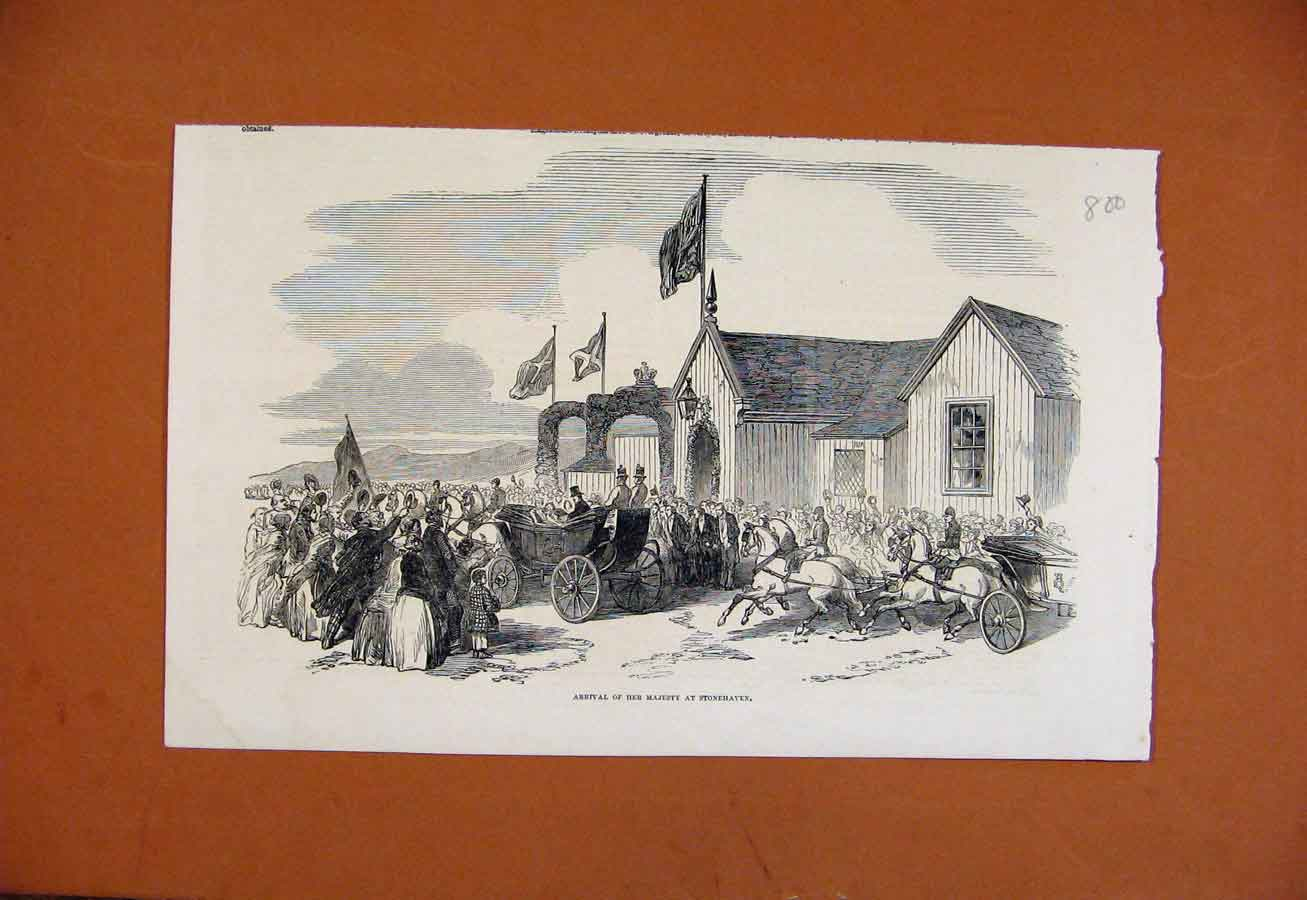 Print Arrival Her Majesty Stonehaven C1851 London News 008270 Old Original