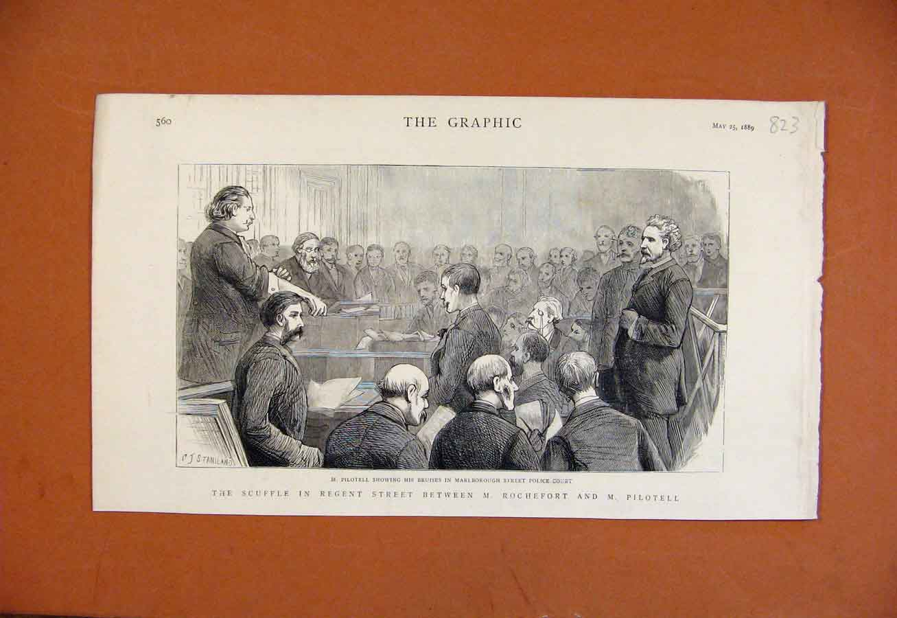 Print Scuffle Regent Street C1889 The Graphic 238270 Old Original