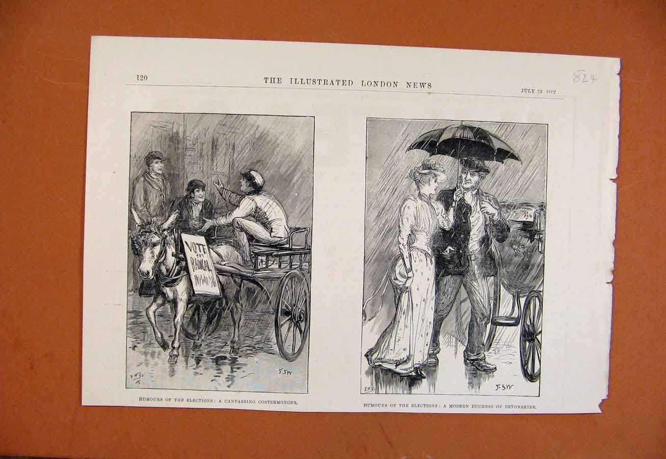Print Humours Elections C1892 Illustrated London News 248270 Old Original