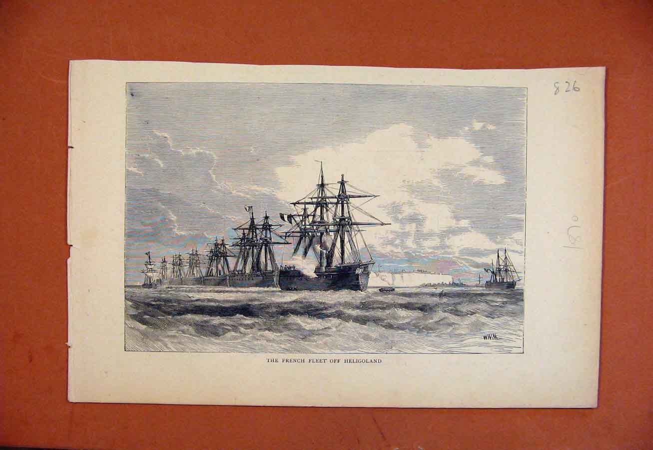 Print French Fleet Heligoland C1870 The Graphic 268270 Old Original