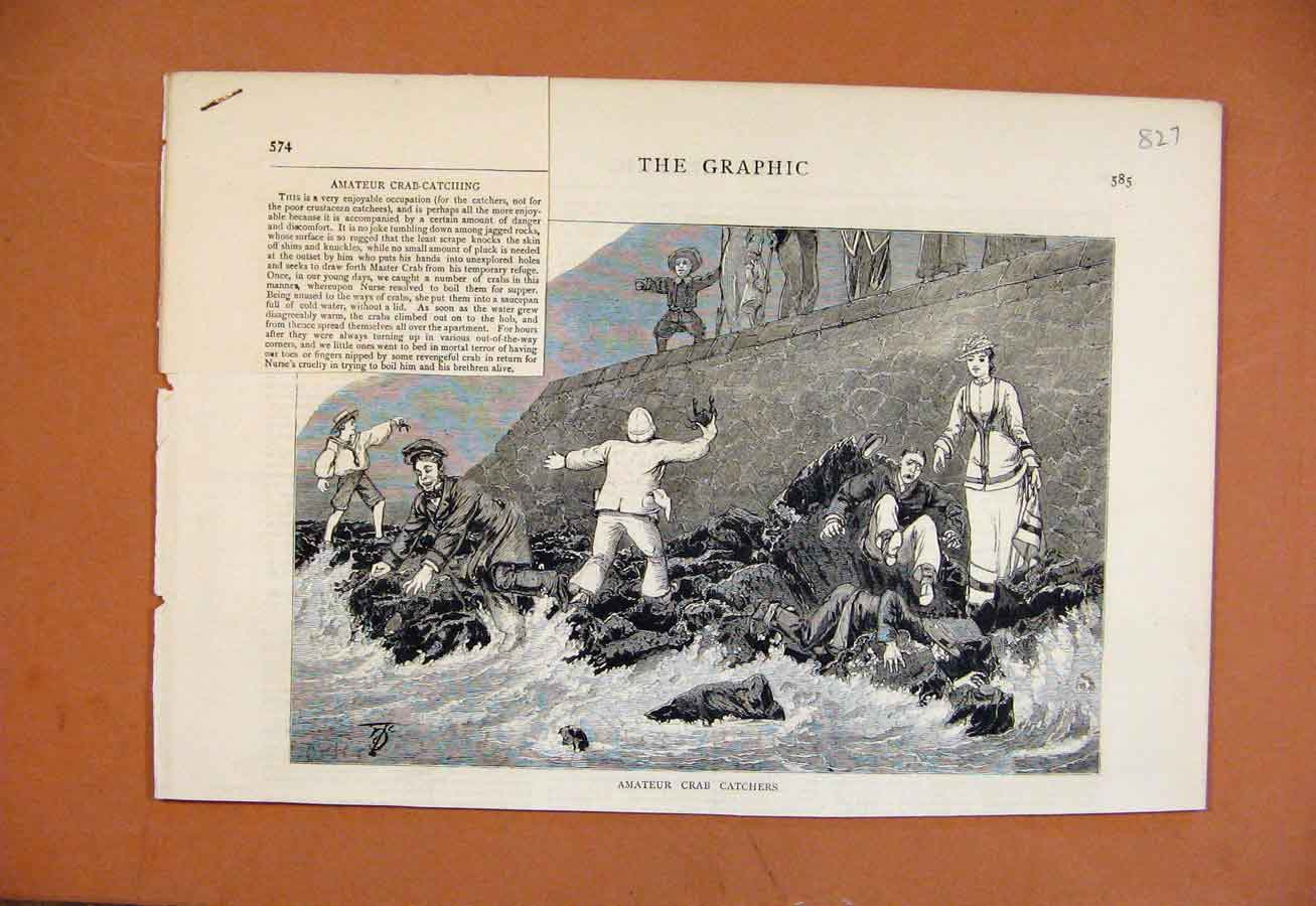 Print Amateur Crab Catchers The Graphic C1879 278270 Old Original