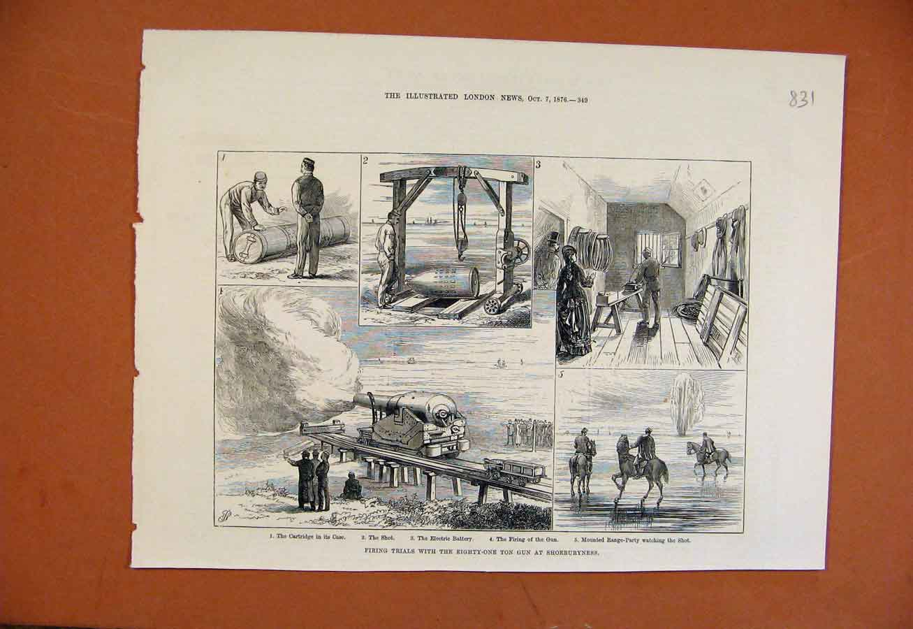 Print Firing Trials Eighty One Ton Gun Shoeburyness C1876 318270 Old Original