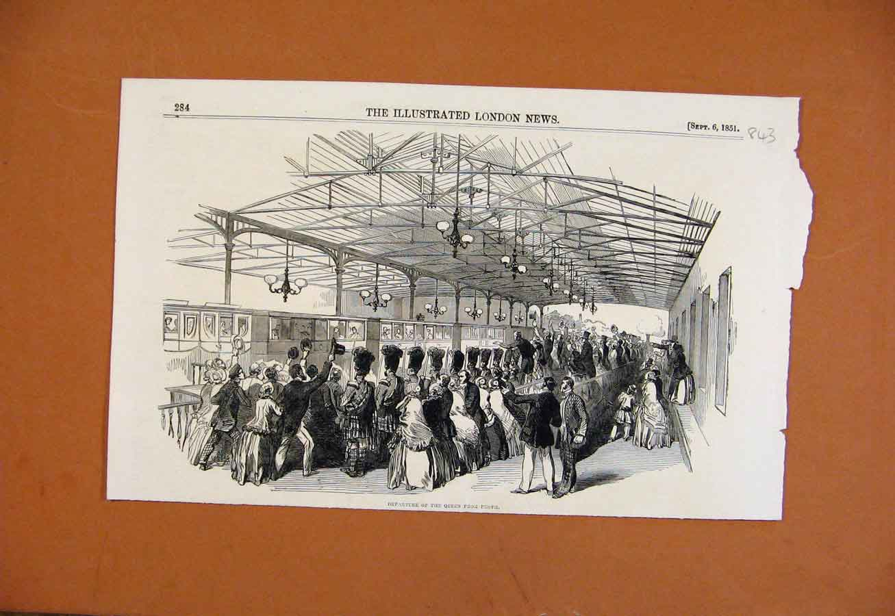 Print C1851 Departure Queen Perth Illustrated London News 438270 Old Original