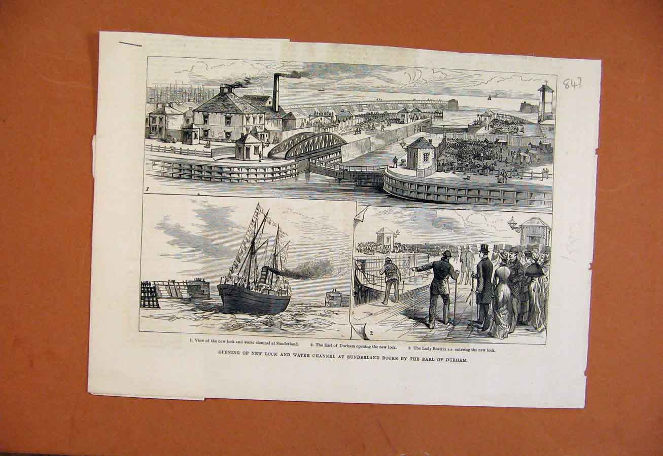 Print C1883 Opening New Lock Water Channel Sunderland Docks 478270 Old Original