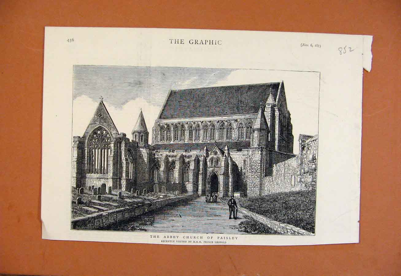 Print Abbey Church Paisley C1875 The Graphic 528270 Old Original