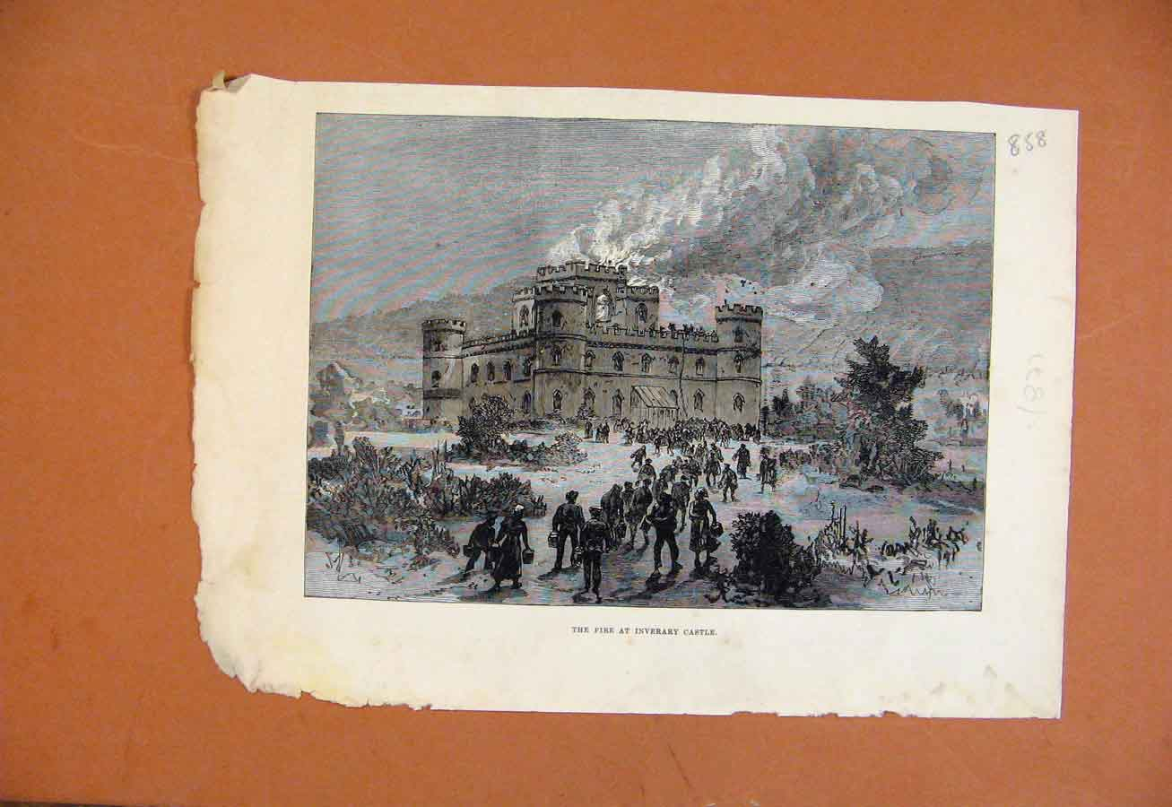 Print C1871 Fire At Inverary Castle 588270 Old Original