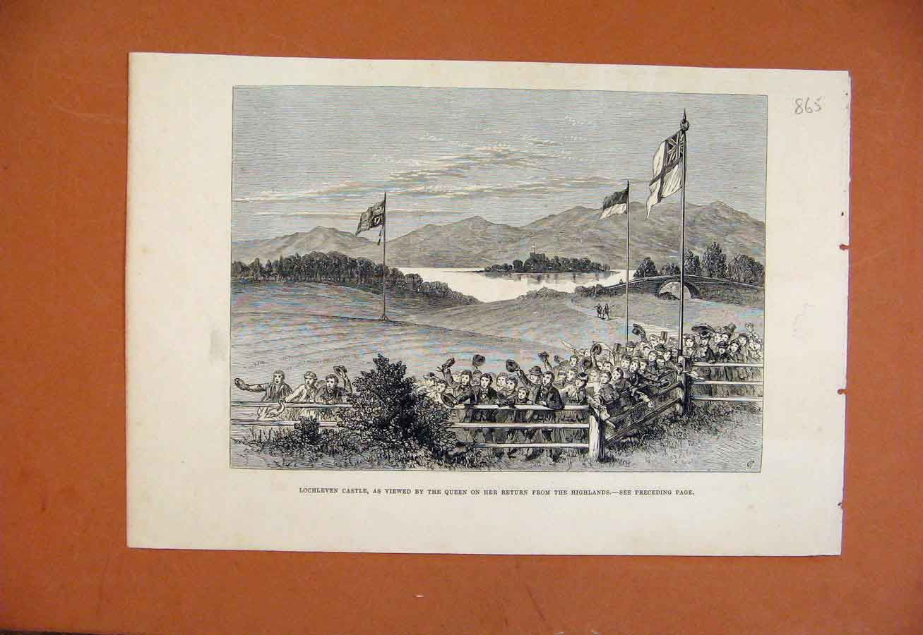 Print C1879 Lochleven Castle Queen Returning From Highlands 658270 Old Original