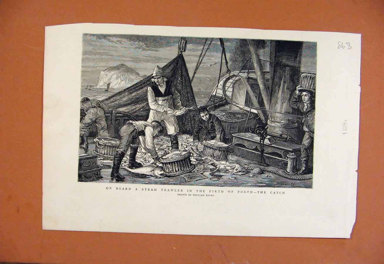 Print Steam Trawler Fishing C1881 Illustrated London News 688270 Old Original