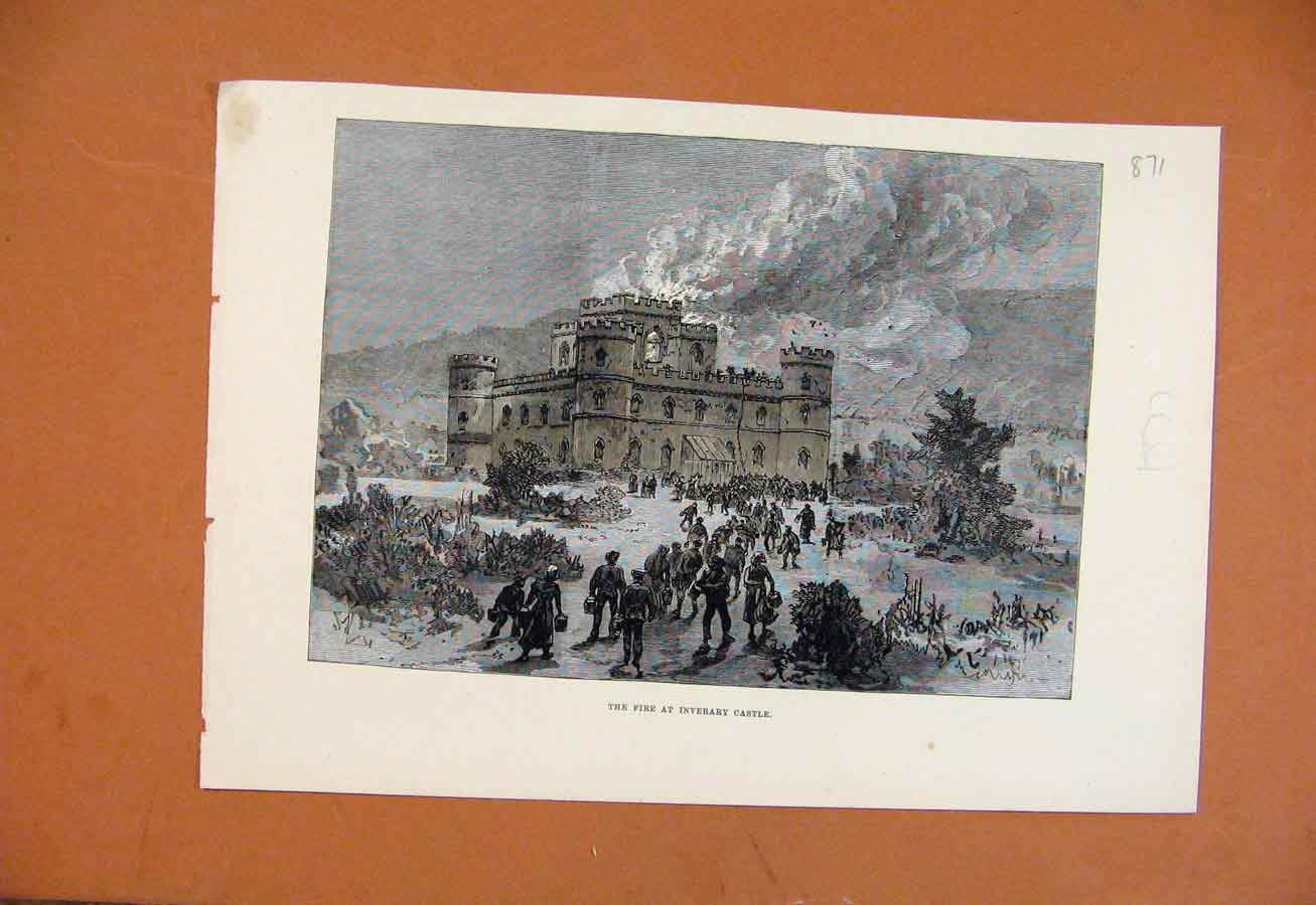 Print Fire At Inverary Castle C1877 Illustrated London News 718270 Old Original