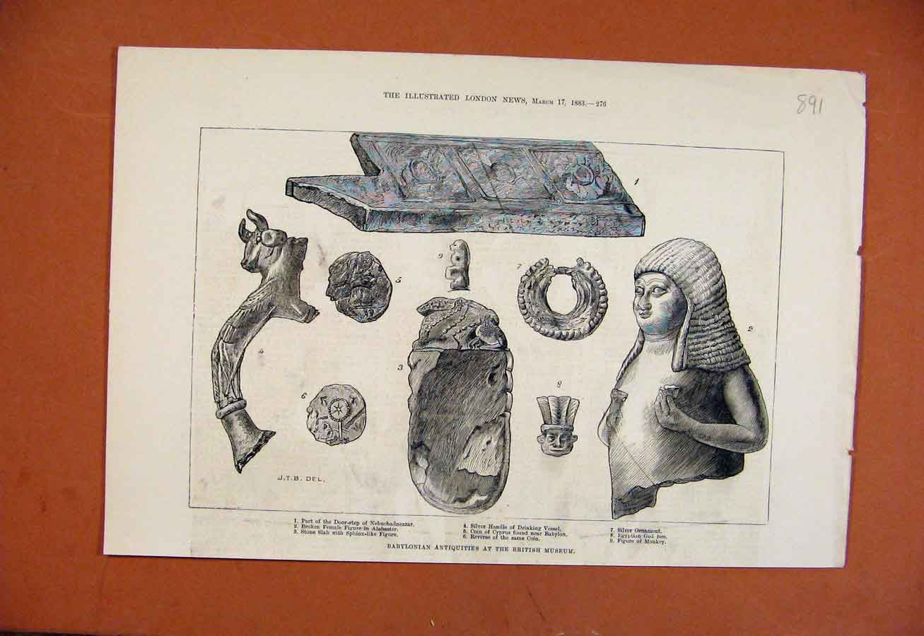 Print Babylonian Antiquities British Museum C1883 918270 Old Original