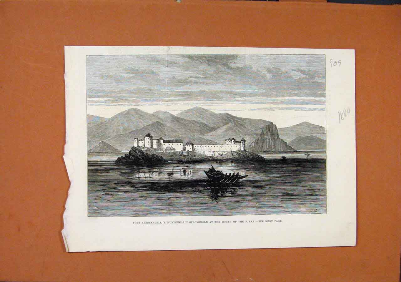 Print Fort Alessandria Rjeka C1880 Illustrated London News 098270 Old Original