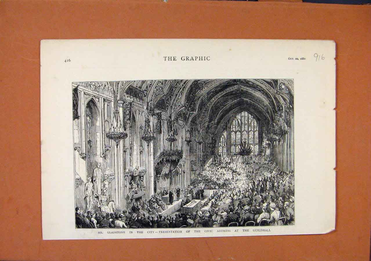 [Print Guildhall Presentaion Me Gladstone C1881 The Graphic 168270 Old Original]