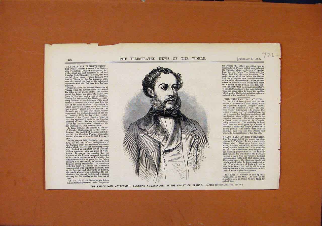Print Austrian Ambassador Court France C1860 228270 Old Original