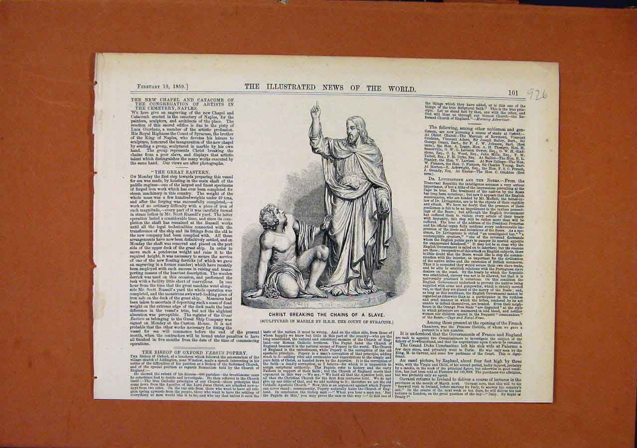 Print C1859 Scupture Christ Breaking Chains Slave 268270 Old Original