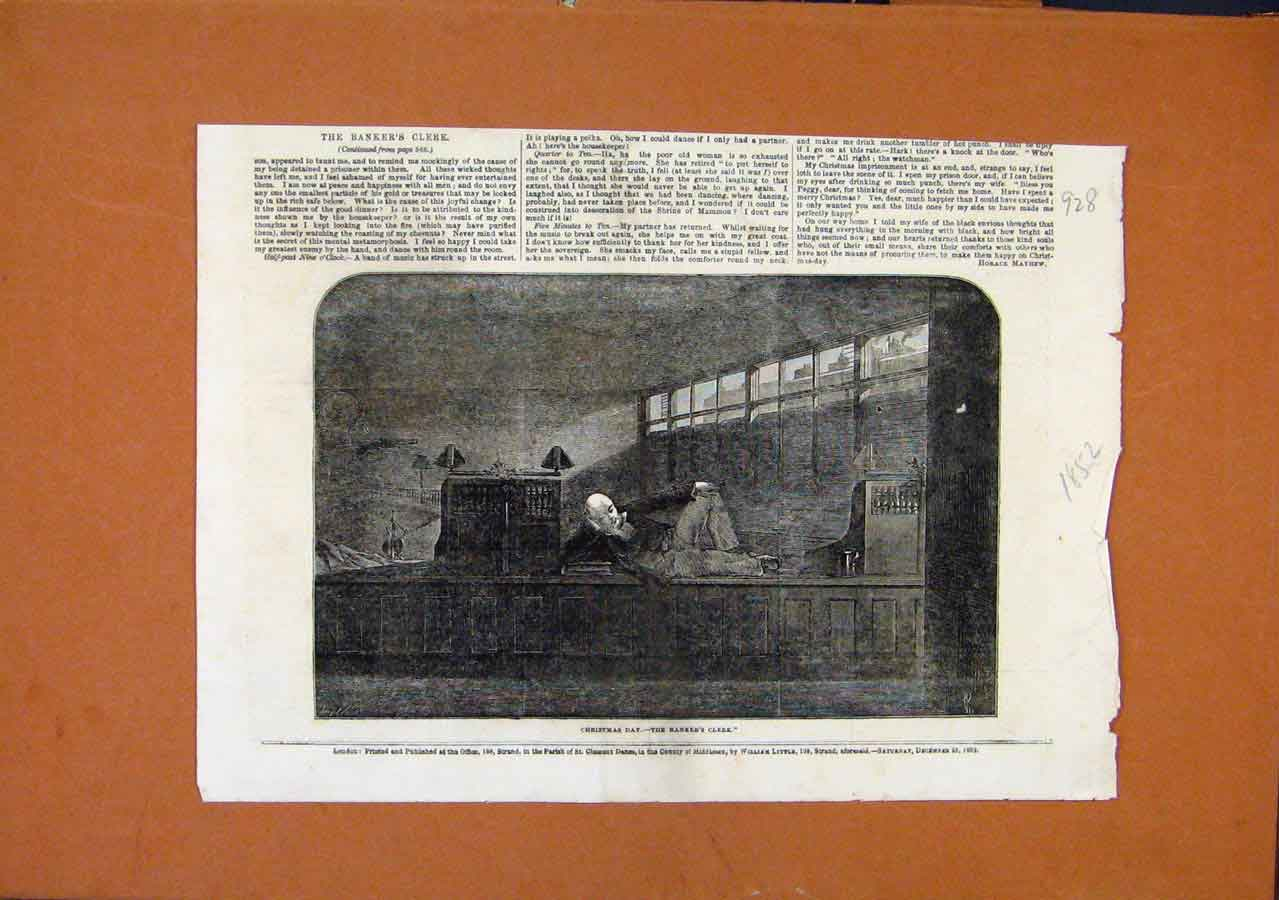 Print Christmas Day Bankers Clerk C1852 London News 288270 Old Original