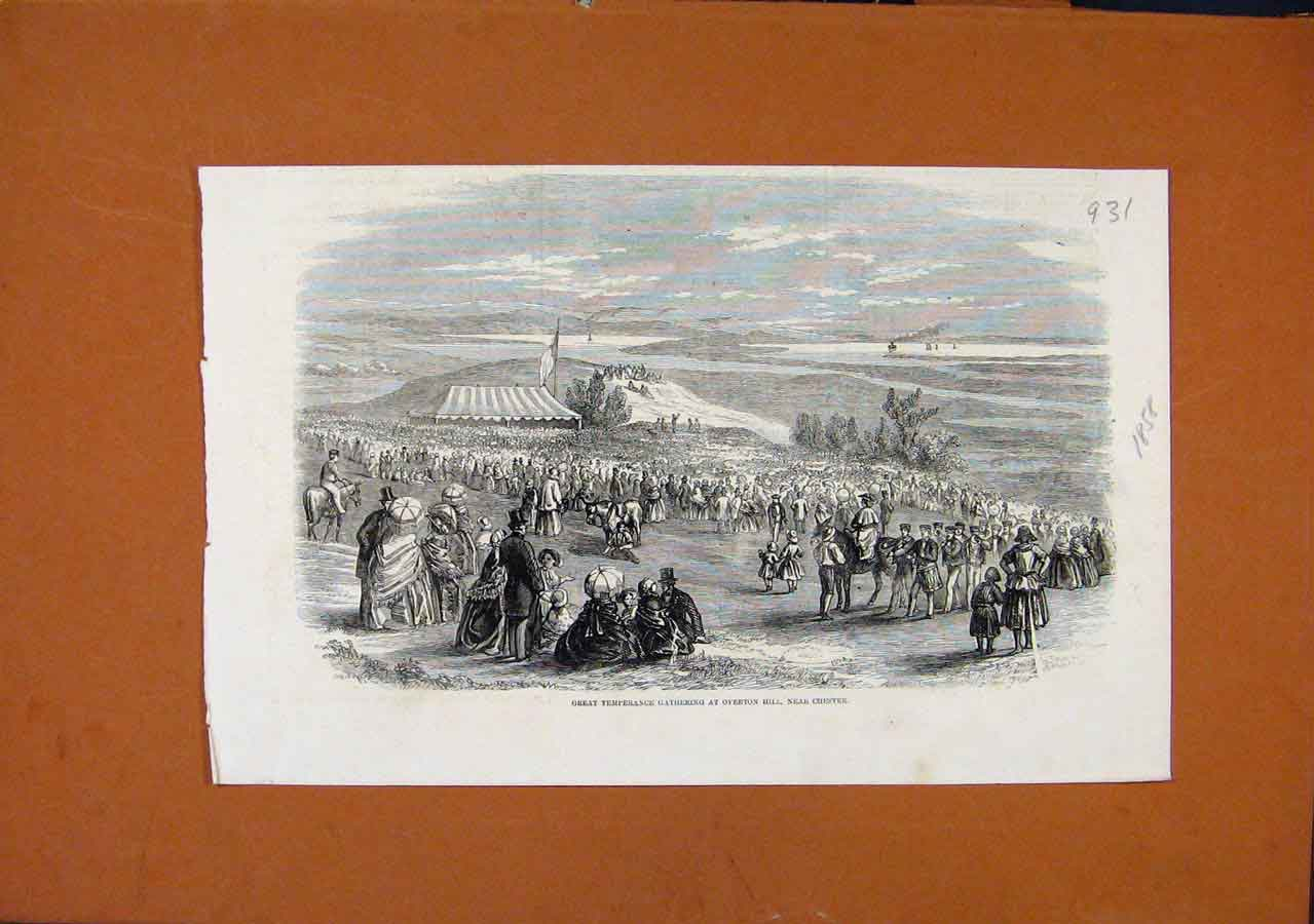 Print Great Temperance Gathering Chester C1858 318270 Old Original