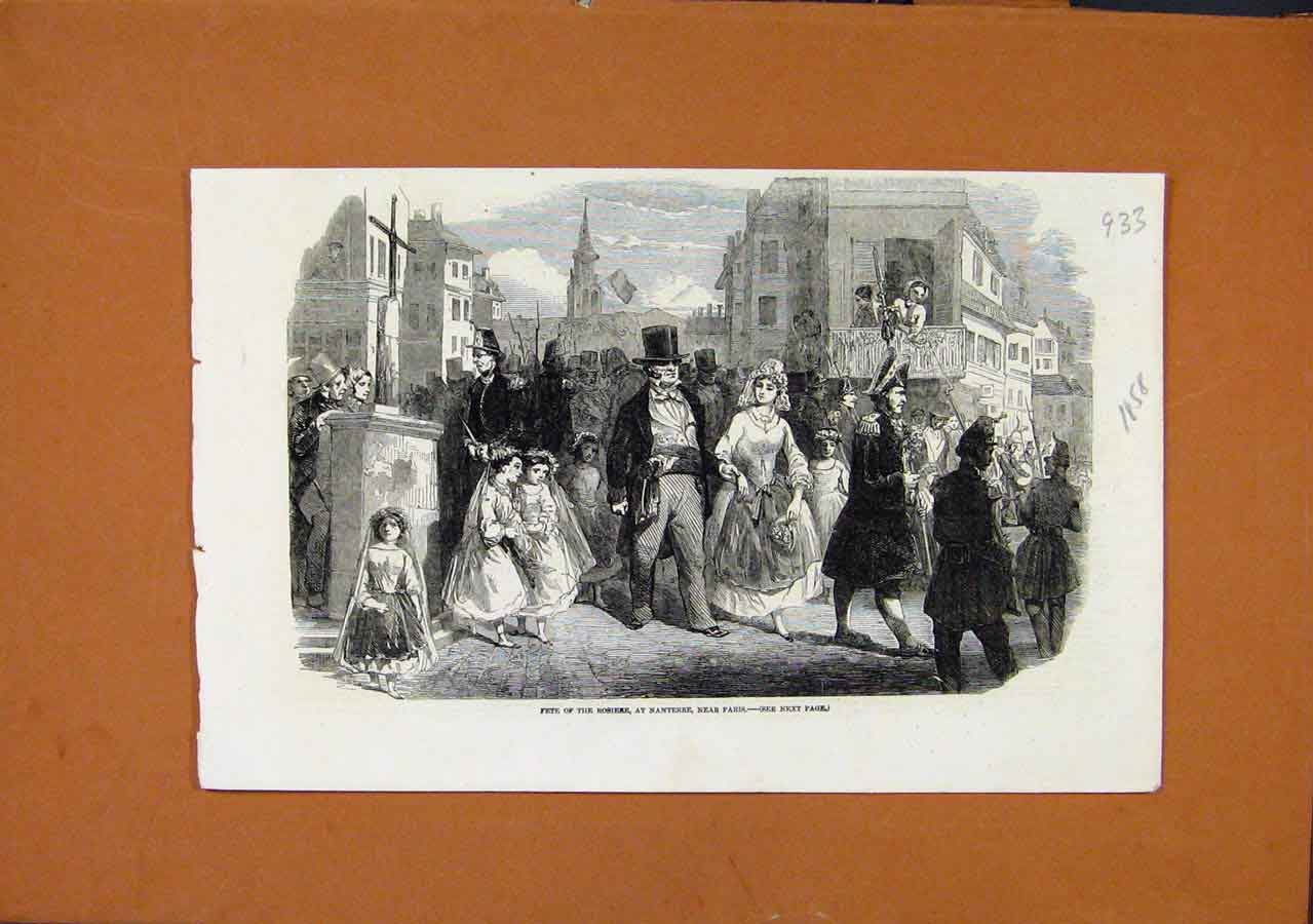 Print Fete Rosiere Nanterre Paris C1858 London News 338270 Old Original