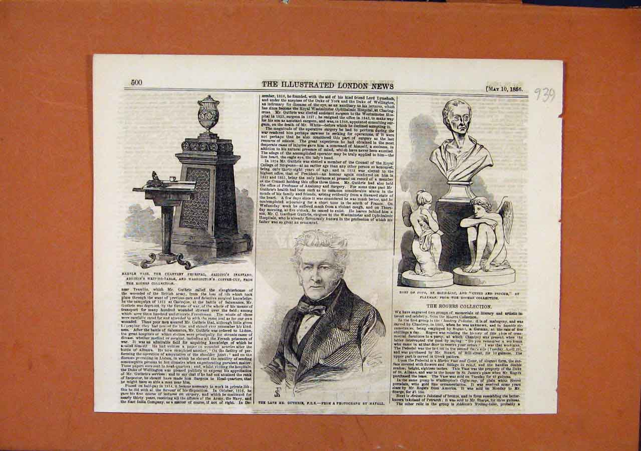 Print Marble Vase Mr Buthrie Bust Pope C1856 London News 398270 Old Original