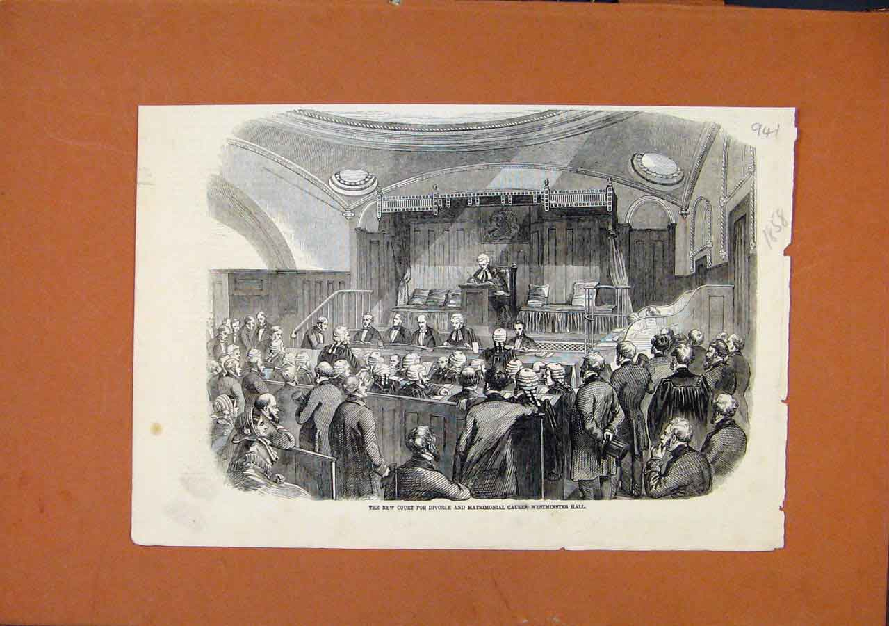 Print Court For Divorce Matrimonial Westminster Hall C1858 418270 Old Original