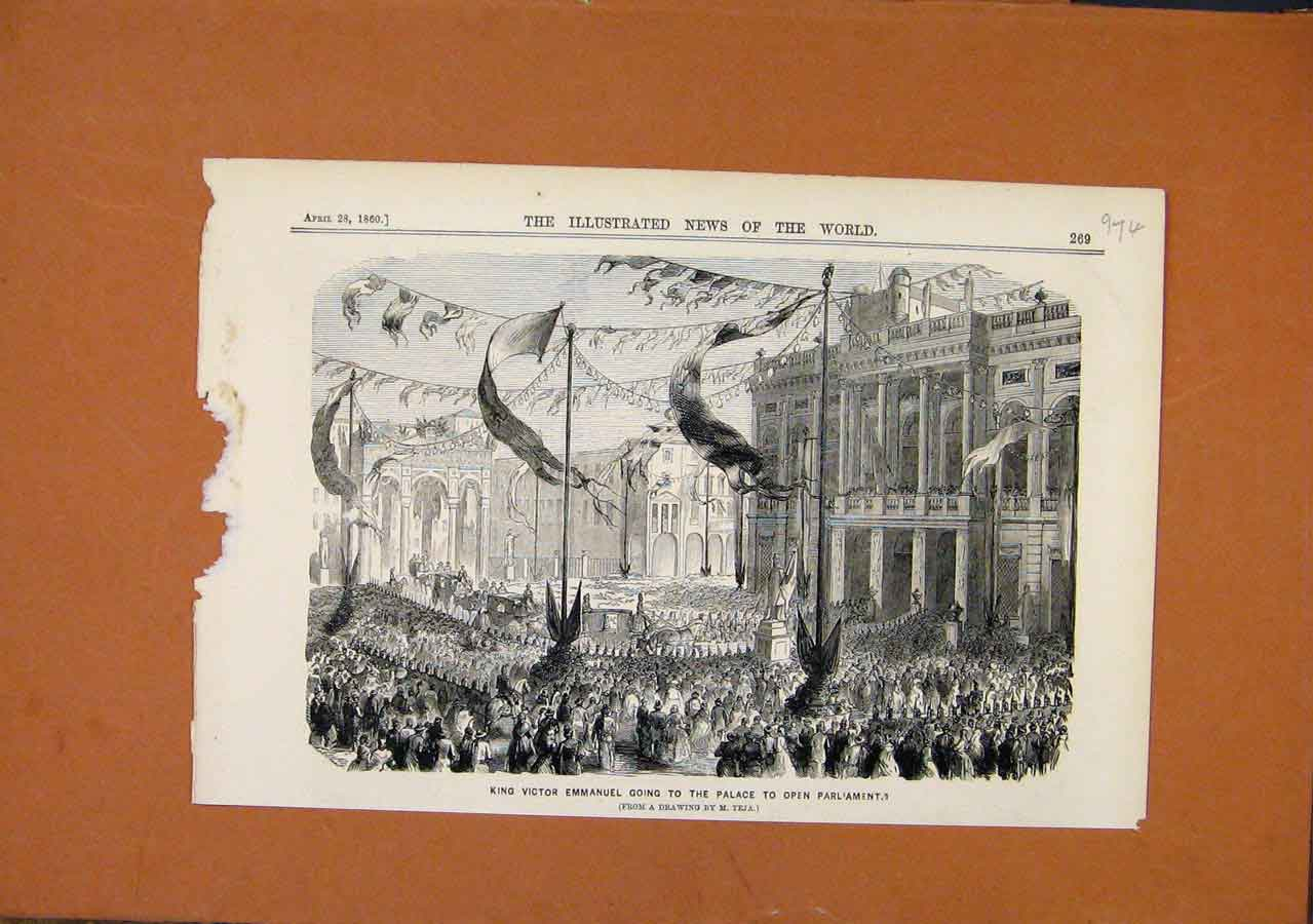 Print King Victor Emmanuel Open Parliament C1860 748270 Old Original