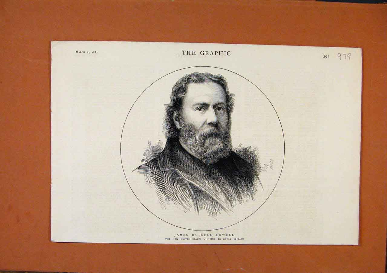 Print The Graphic C1880 Portrait James Russel Lowell Minister 798270 Old Original