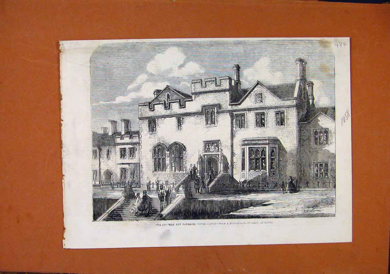 Print Officers New Barracks Dover Castle C1858 848270 Old Original