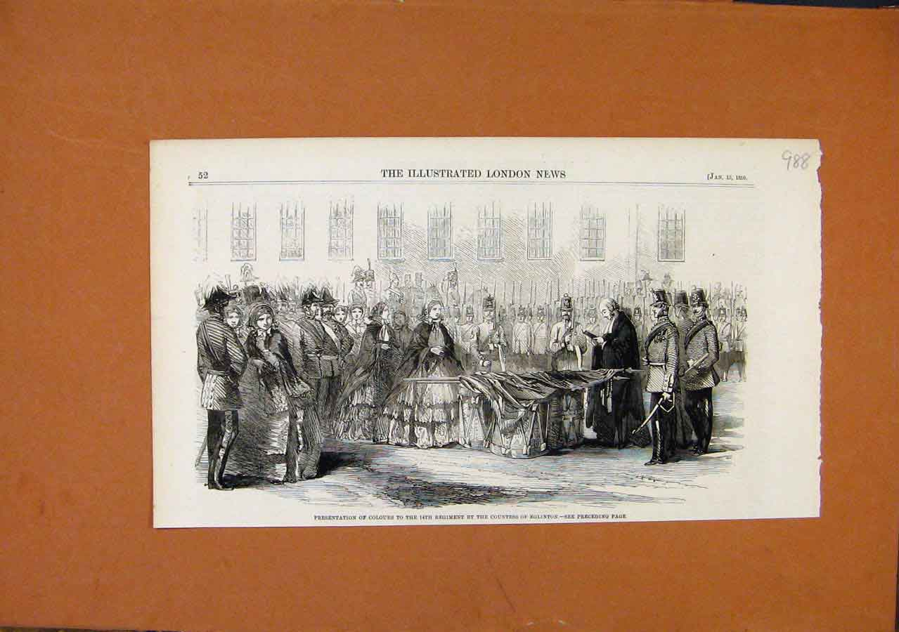 Print Presentation Colours 14Th Regiment Eglinton C1859 888270 Old Original