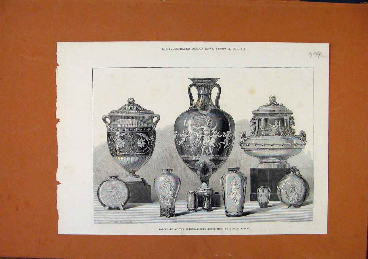 Print Porcelain International Exhibition C1871 London News 998270 Old Original
