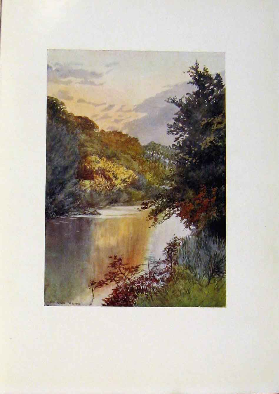 Print Yorkshire Coast And Moorland Autumn Scene Esk 038301 Old Original