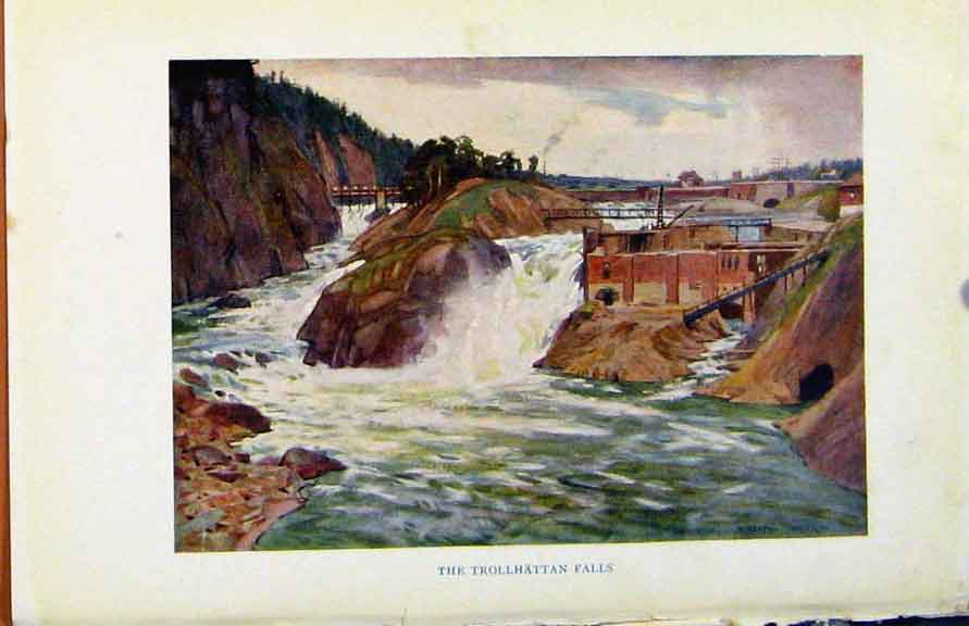 Print Colour Plate Sweden 1927 Trollhattan Falls 078371 Old Original