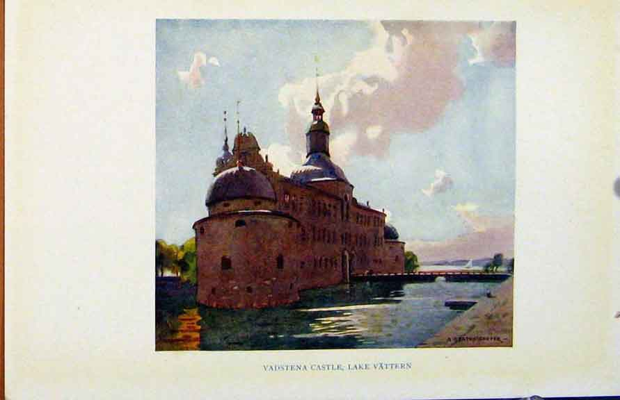Print Colour Plate Sweden 1927 Vadstena Castle Lake 108371 Old Original
