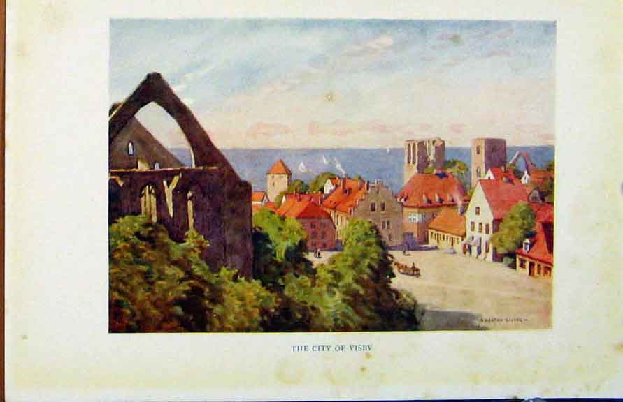 Print Colour Plate Sweden 1927 City Visby By A Heaton Cooper 208371 Old Original